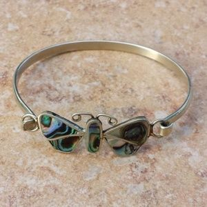 Abalone Butterfly Cuff Bracelet Taxco Mexico